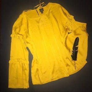 Worthington mustard pullover, ruffled bell sleeves